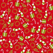Retro Vintage Christmas Wreath And Stockings Seamless Background Pattern
