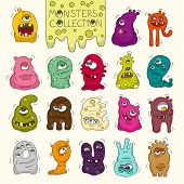 Постер, плакат: Set Of Cute Bright Monsters