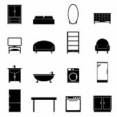 Постер, плакат: Furniture isolated icons set Modern black furniture for apartment on white background