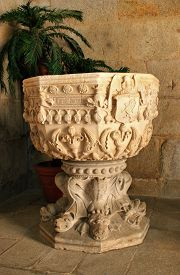 picture of baptism  - Baptismal font in Leca do Balio monastery Portugal - JPG