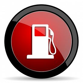 pic of petrol  - petrol red circle glossy web icon on white background - JPG