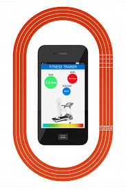 stock photo of olympiade  - Mobile Phone with Fitness Tracker Application and Running Track on a white background - JPG