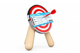 foto of archery  - Bus Ticket in Center of Archery Target on a white background - JPG