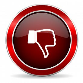 stock photo of dislike  - dislike red circle glossy web icon - JPG