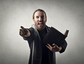 picture of priest  - Angry priest doing a sermon - JPG