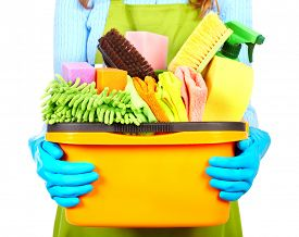 stock photo of maids  - Maid hands with cleaning tools - JPG