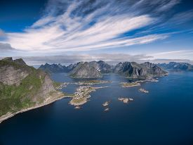 picture of reining  - Lofoten islands from air scenic view of Reine Norway - JPG