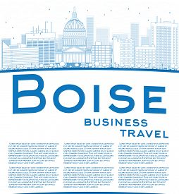 picture of boise  - Outline Boise Skyline with Blue Building and copy space - JPG