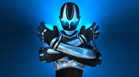 stock photo of cyborg  - advanced female cyborg character holding energy charge - JPG