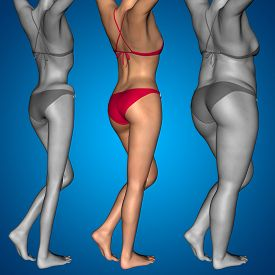 picture of anorexic  - Concept or conceptual 3D woman or girl as fat - JPG