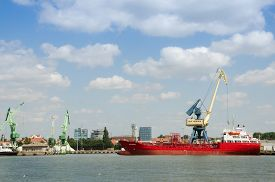 image of barge  - Heavy Barge is in seaport in Lithuania - JPG