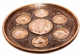 picture of seder  - seder plate vor passover holiday isolated with white background close up - JPG