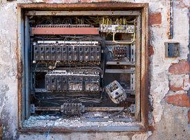picture of breaker  - a detail of old broken circuit breakers - JPG