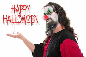 image of ugly  - ugly und creepy clown looking to the beholder text Happy Halloween isolated on white concept halloween - JPG