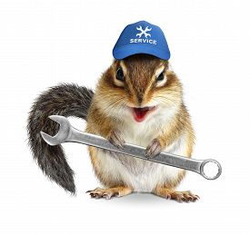 picture of laughable  - Funny craftsman chipmunk with wrench isolated on white - JPG