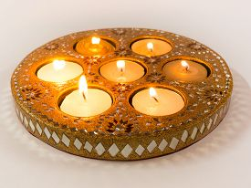 stock photo of diya  - Isolated diyas handmade lamps used in the decoration of indian homes on the hindu festival of Diwali - JPG