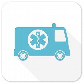 picture of ambulance  - ambulance blue flat icon - JPG