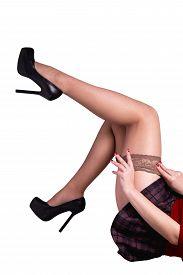 stock photo of stocking-foot  - Nude female legs - JPG