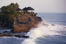 picture of tanah  - Tanah Lot Temple Stand At Sunset In Indian Ocean - JPG