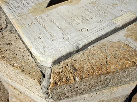 image of slab  - Fragment of old sundial clock face - JPG