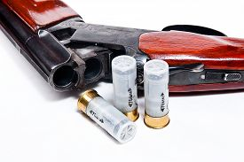 picture of cartridge  - Hunting shotgun and ammunition on white background - JPG