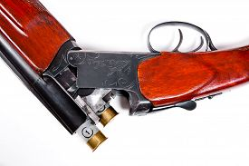 pic of cartridge  - Hunting shotgun and ammunition on white background - JPG
