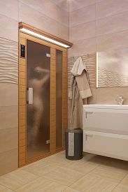 pic of kamasutra  - 3D rendering of the bathroom with spa and naked girl - JPG