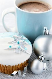 stock photo of motif  - Silver and blue theme christmas - JPG