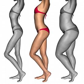 picture of emaciated  - Concept or conceptual 3D woman or girl as fat - JPG