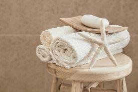 foto of stool  - Hotel bathroom decor closeup - JPG