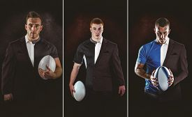 picture of half-dressed  - Rugby player looking at camera against half a suit - JPG