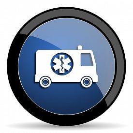foto of ambulance  - ambulance blue circle glossy web icon on white background - JPG
