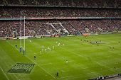 TWICKENHAM LONDON - NOVEMBER 14: English Penalty kick at England vs Argentina Investec Rugby Match o
