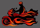 Vector graphic motorcycle on fire