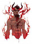Diabo. Retrato do demônio. Ilustração em vetor isolada. 4 níveis: cabeça, sangue, corpo e chamas. Você c