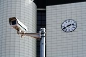 CCTV security camera  before a municipal building.