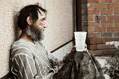 foto of hobo  - Homeless man in depression - JPG