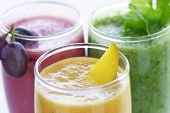 stock photo of fruits vegetables  - selection of fresh  fruit and vegetables smoothies - JPG