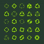 Recycling Ecology Thin Line Icon Set. poster