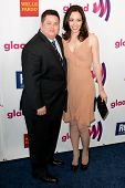 LOS ANGELES - APR 10: Chaz Bono (L) and Jennifer Elia (R) arrive at the 22nd annual GLAAD Media Awar