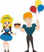 Ilustración de un chico que se entrega un pastel a una chica