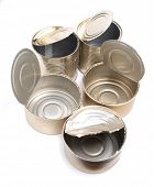 Color photos of empty metal tin