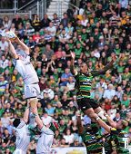NORTHAMPTON, UK - SEPT 05: Tigers claim the ball during Northampton Saints vs Leicester Tigers Premi