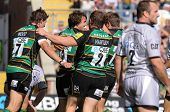 NORTHAMPTON, UK - SEPT 05: Saints celebrate scoring a try during Northampton Saints vs Leicester Tig