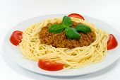 Spaghetti Bolognese With Red Tomatoes , Parmesan Cheese.