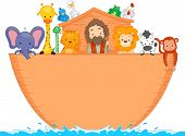 Illustration of Animals Aboard Noah's Ark with space for text
