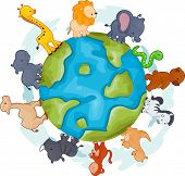Illustration of Animals Walking Around a Globe