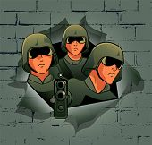 Soldiers break through the bricks wall
