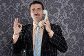 happy ok gesture telephone man retro hand sign mustache vintage wallpaper