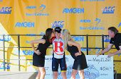 MT. BALDY, CA - MAY 21: Levi Leipheimer gets the traditional kiss from the Podium Girls after winnin